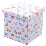 Foldable Padded Stool  and  Storage Box - Butterfly Design