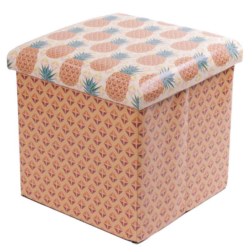 Foldable Padded Stool  and  Storage Box – Tropical Design