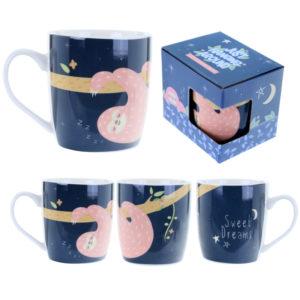 Fun Animal New Bone China Mug - Sleepy Sloth Design
