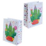 Fun Cactus Design Large Glossy Gift Bag