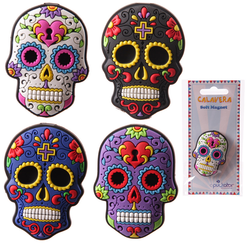 Fun Candy Skulls Day of the Dead PVC Magnet
