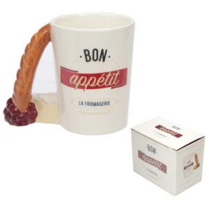 Fun Ceramic Baguette Shaped Handle Novelty Mug
