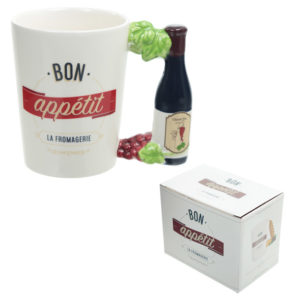 Fun Ceramic Wine Bottle and Vines Shaped Handle Novelty Mug