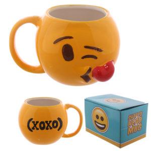 Fun Collectable Ceramic Blowing Kisses Emoti Mug