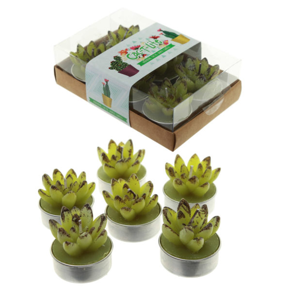 Fun Decorative Open Leaf Cactus Candles – Set of 6 Tea Lights