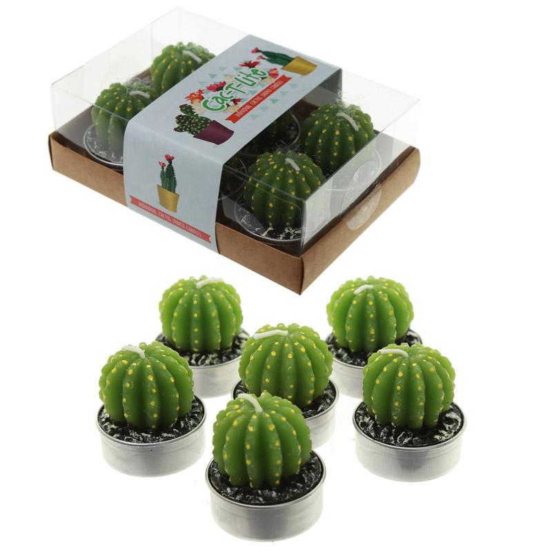 Fun Decorative Single Cactus Candles – Set of 6 Tea Lights
