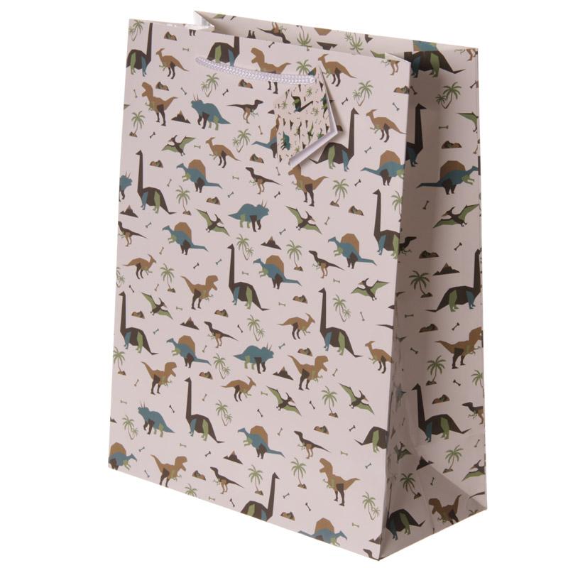 Fun Dinosaur Print Large Glossy Gift Bag