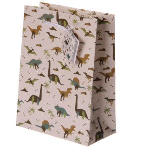 Fun Dinosaur Print Medium Glossy Gift Bag
