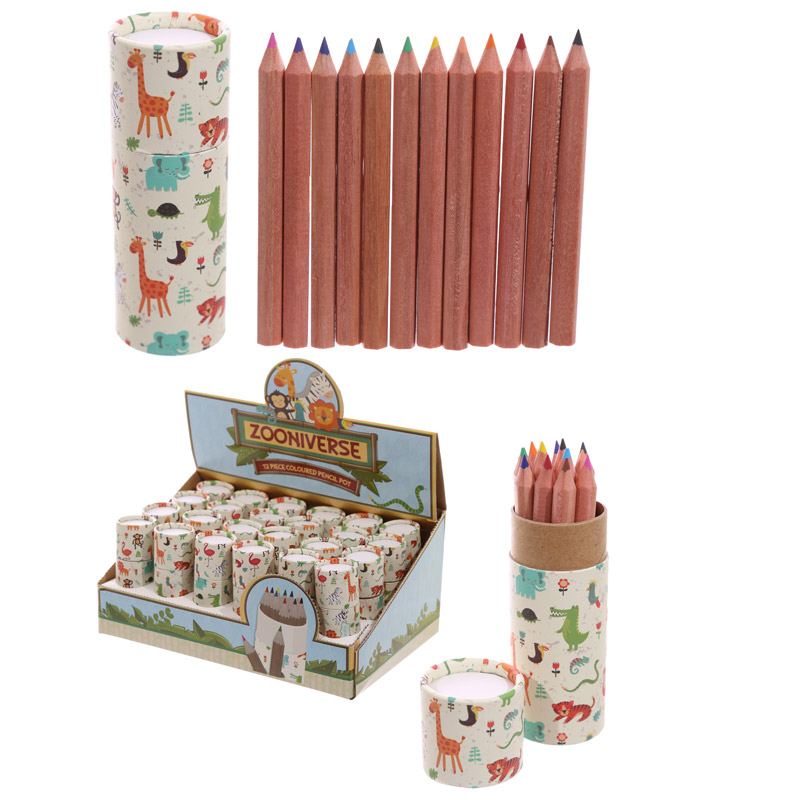 Fun Kids Colouring Pencil Tube - Zoo Design