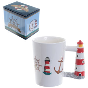 Fun Lighthouse Shaped Handle Ceramic Mug