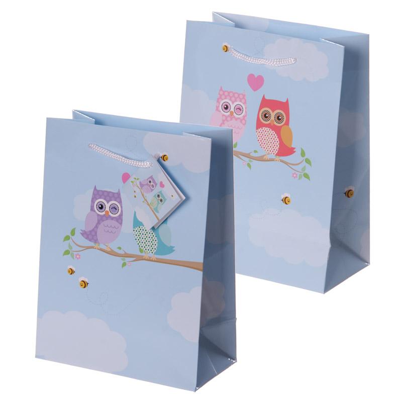 Fun Love Owls Print Medium Glossy Gift Bag