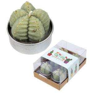 Fun Mini Candles - Ridged Cactus Set of 6 Tea Lights