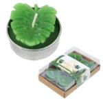 Fun Mini Candles - Tropical Banana Leaf Set of 6 Tea Lights