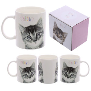 Fun New Bone China Mug - MEOW Cute Kitten Design