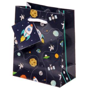 Fun Space Theme Small Glossy Gift Bag