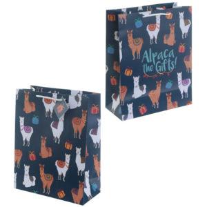 Funky Alpaca Design Large Glossy Gift Bag