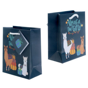 Funky Alpaca Design Small Glossy Gift Bag