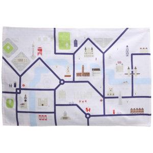 Funky London Map Design Cotton Tea Towel