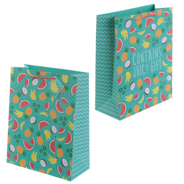 Funky Pineapple and Watermelon Design Large Glossy Gift Bag