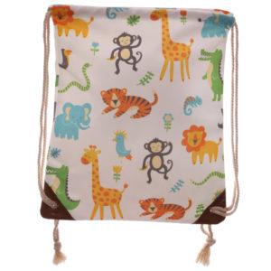 Handy Cotton Drawstring Bag - Zoo Design