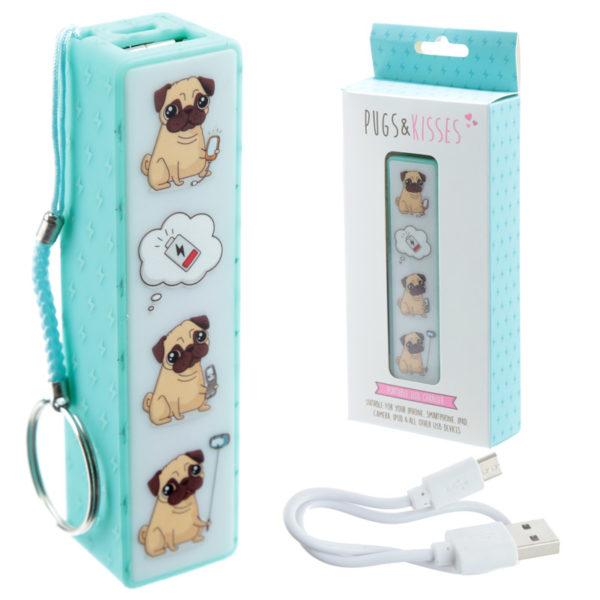 Handy Portable USB Power Bank – Pug Design