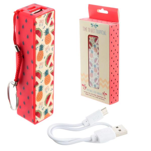 Handy Portable USB Power Bank – Tropical Design