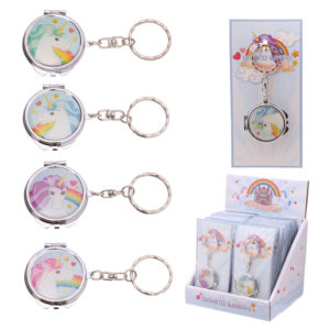 Handy Unicorn Rainbow Pocket Keyring Compact Mirror