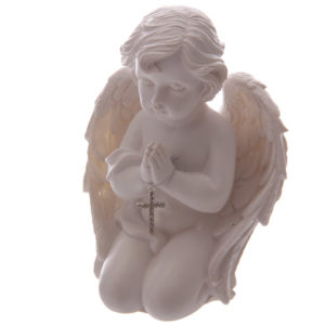 Kneeling Cherub Figurine Praying with Jewelled Cross