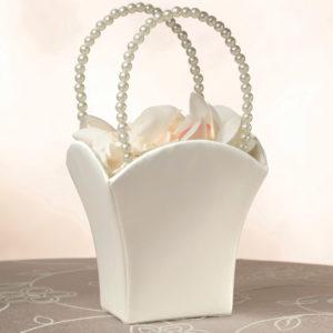 Plain Satin Flower Basket IvoryPlain Satin Flower Basket Ivory