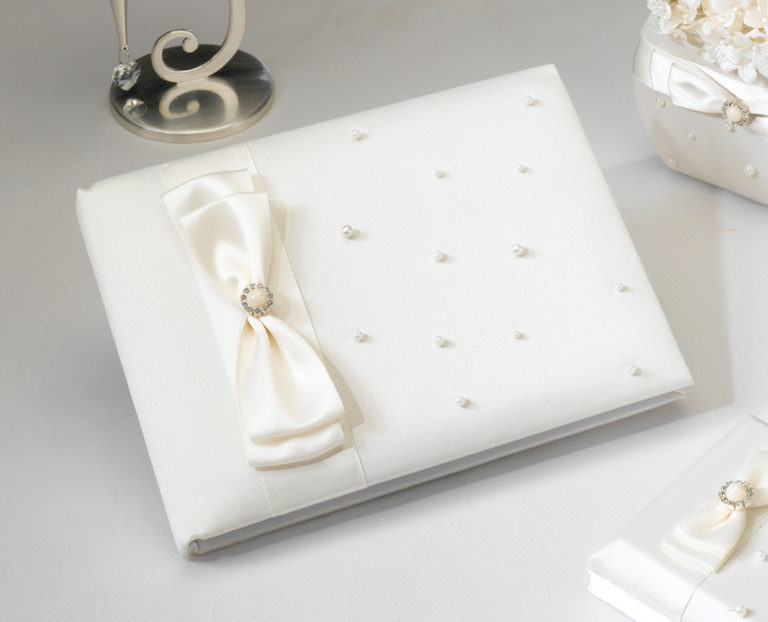 Scattered Pearl Guest Book Ivory