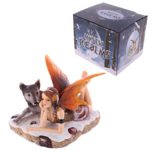 Mystic Realms Collection Fantasy Laying Snow Fairy and Wolf