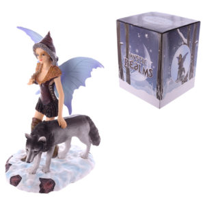 Mystic Realms Collection Fantasy Standing Snow Fairy and Wolf