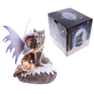 Mystic Realms Fairy Figurine with Wolf Companion