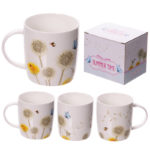 New Bone China Mug - Decorative Dandelion Pattern