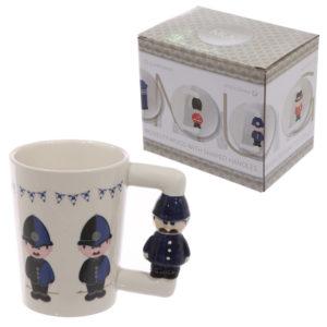 Novelty Ceramic Shaped Handle Policeman Mug