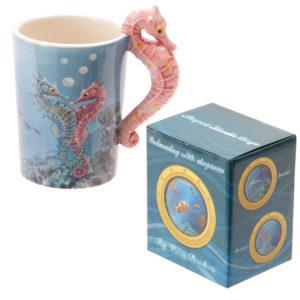 Novelty Sealife Design Seahorse Shaped Handle Ceramic Mug