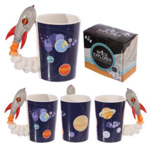 Novelty Shaped Handle Ceramic Space Mug - Rocket
