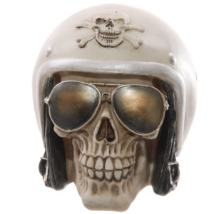 Novelty Skull with Sun Glasses and Helmet Ornament