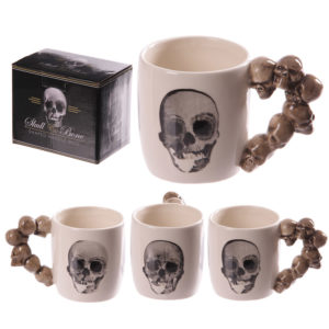 Novelty Skulls Stack Shaped Handle Ceramic Mug