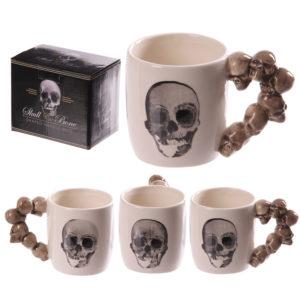 Novelty Skulls Stack Shaped Handle Ceramic Mug