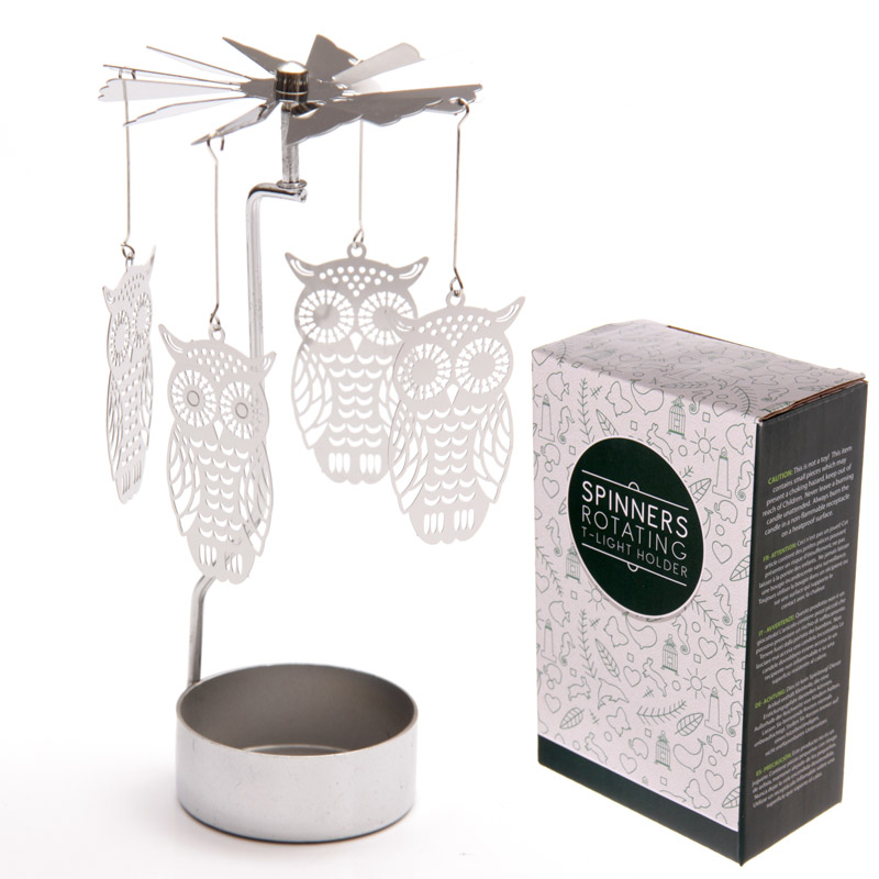 Owl Design Metal Tealight Spinner
