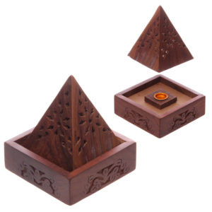 Pyramid Sheesham Wood Incense Cone Box with Fretwork