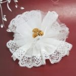 White Crystal And Laced Edge Ready Made Favor With 3 Gold Ribbon RosesWhite Crystal And Laced Edge Ready Made Favor With 3 Gold Ribbon Roses