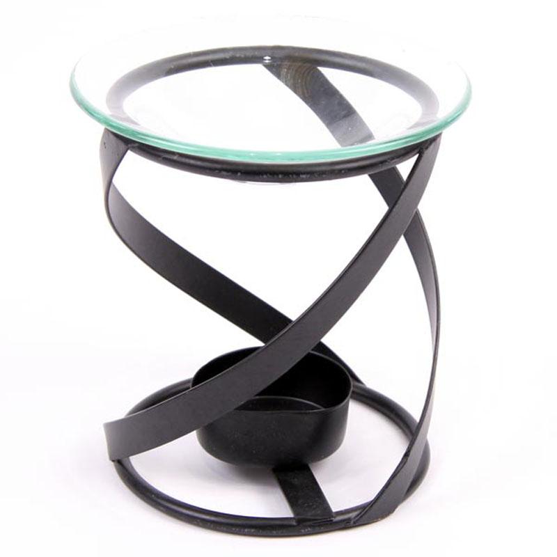 Simple Metal Spiral Design Oil Burner with Glass Dish
