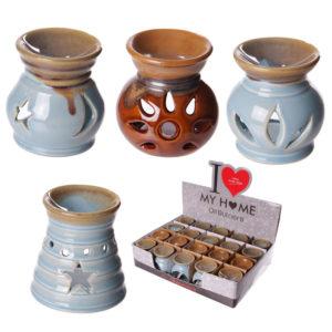 Small Cut Out Designs Ceramic Dipped Glaze Oil Burner
