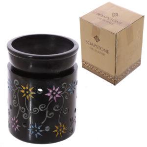 Soapstone Oil Burner - Black with Coloured Flower Pattern
