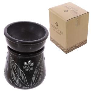 Soapstone Oil Burner - Black with Flower Pattern