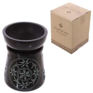 Soapstone Oil Burner - Black with Flower and Leaf Pattern