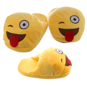 Tongue Out Open Back Emotive Pair of Unisex Slippers