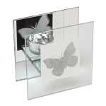 Hestia Glass Single Candle Holder With Butterfly DesignHestia Glass Single Candle Holder With Butterfly Design